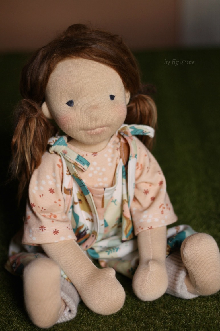 Gracey Carolina, a natural fiber art doll, custom made by Fig and Me.