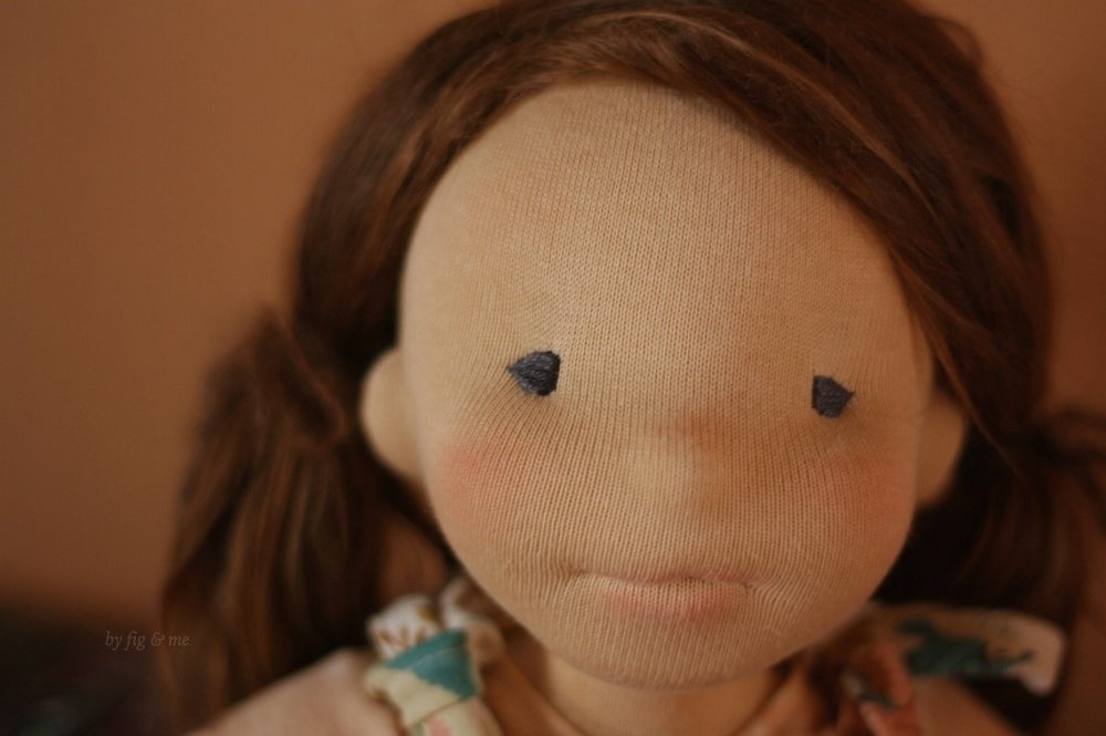 Carolina, a sweet waldorf style doll made by Fig and Me.