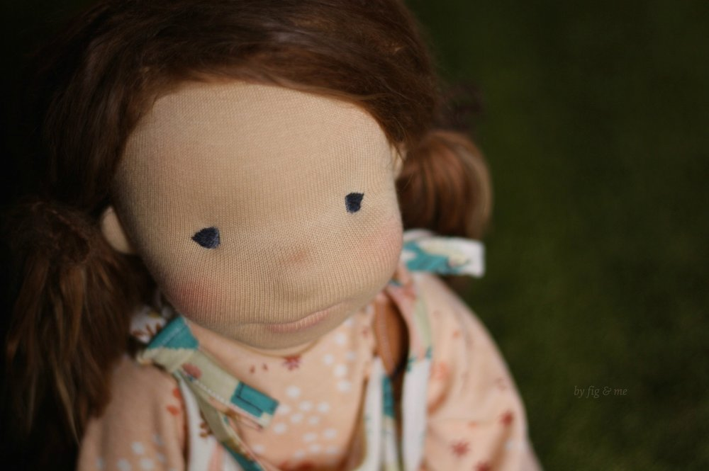 Carolina, a natural fiber art doll, custom made by Fig and Me.