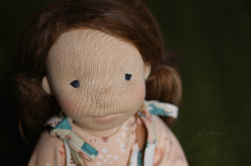 "Precious Carolina, an 18"" figlette, custom made by Fig and Me."