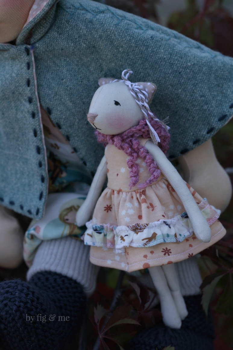 "Cedar is an 8.5"" tall cloth doll, made with cotton and stuffed with wool. By Fig and Me."