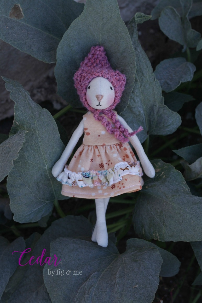 Cedar, a pretty cloth doll by Fig and Me.