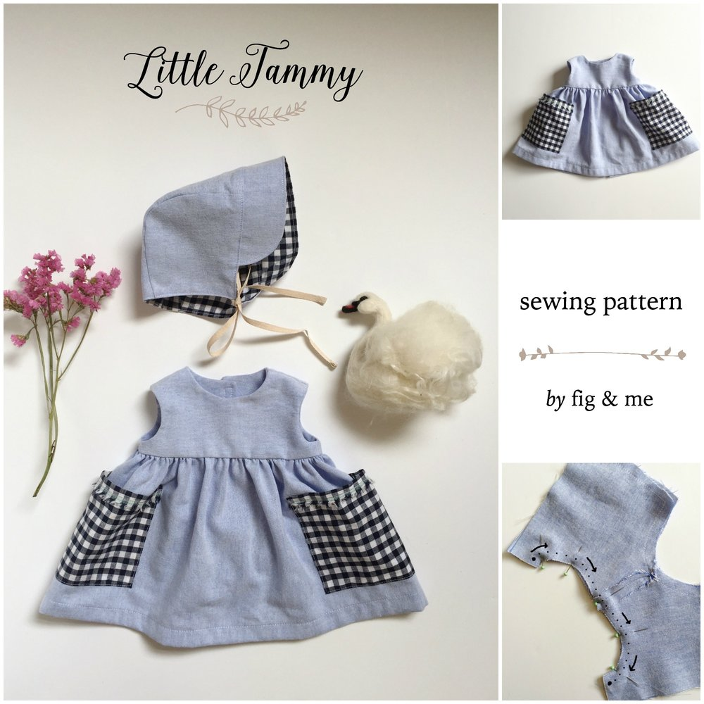 Little Tammy is a doll clothing sewing pattern, for a breezy dress + jolly bonnet. By Fig and Me.
