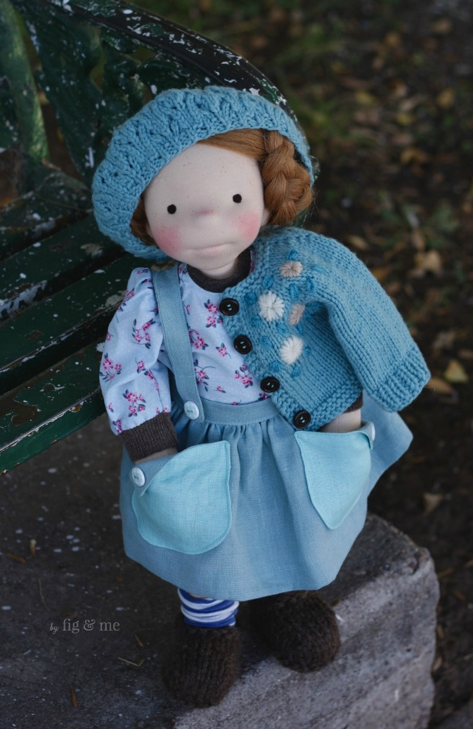 "Pippa, a custom 18"" figlette, natural waldorf-inspired art doll by Fig and Me."