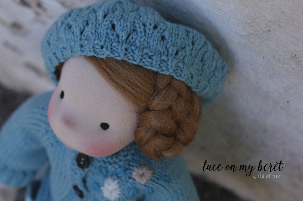 Waldorf-style doll beret, hand knit with vintage irish wool and topped with a sweet wool felt bead. By Fig and Me.