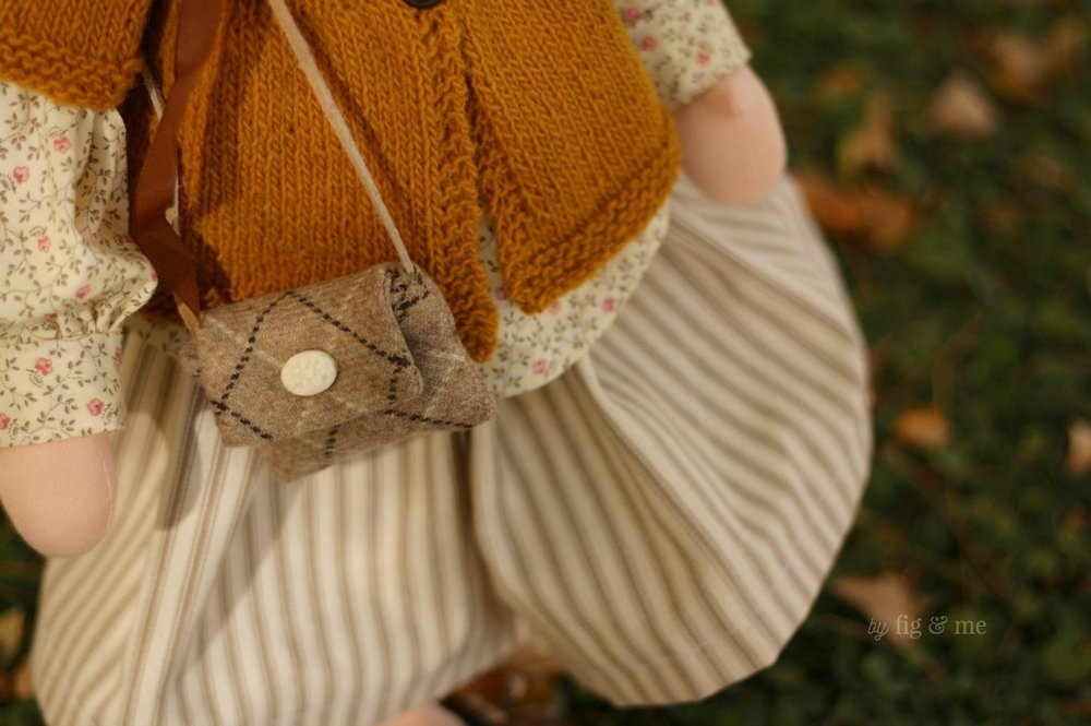 A wool purse, for all doll necessities. By Fig and Me.