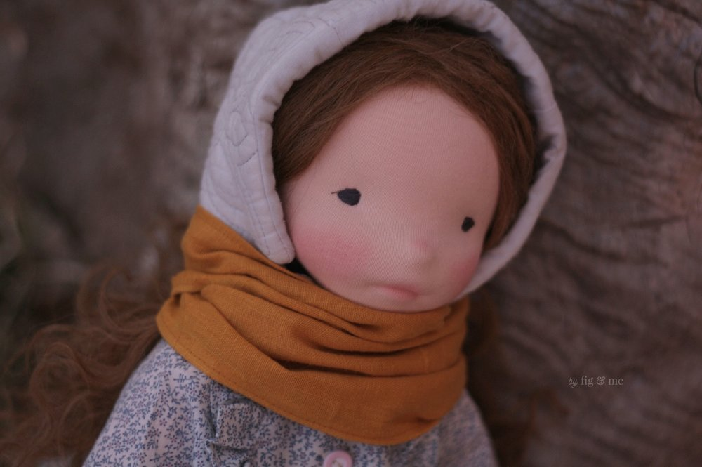 Doortje, a waldorf-inspired, natural cloth doll by Fig and Me.