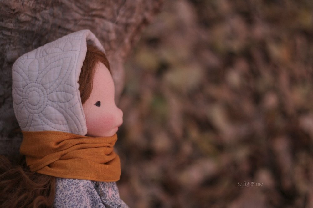 Doortje. A natural cloth doll by Fig and Me.