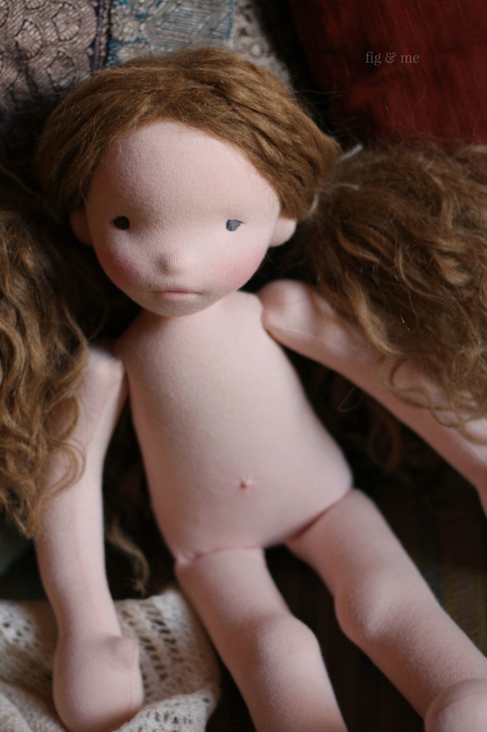 Doortje, a natural cloth doll by Fig and Me.