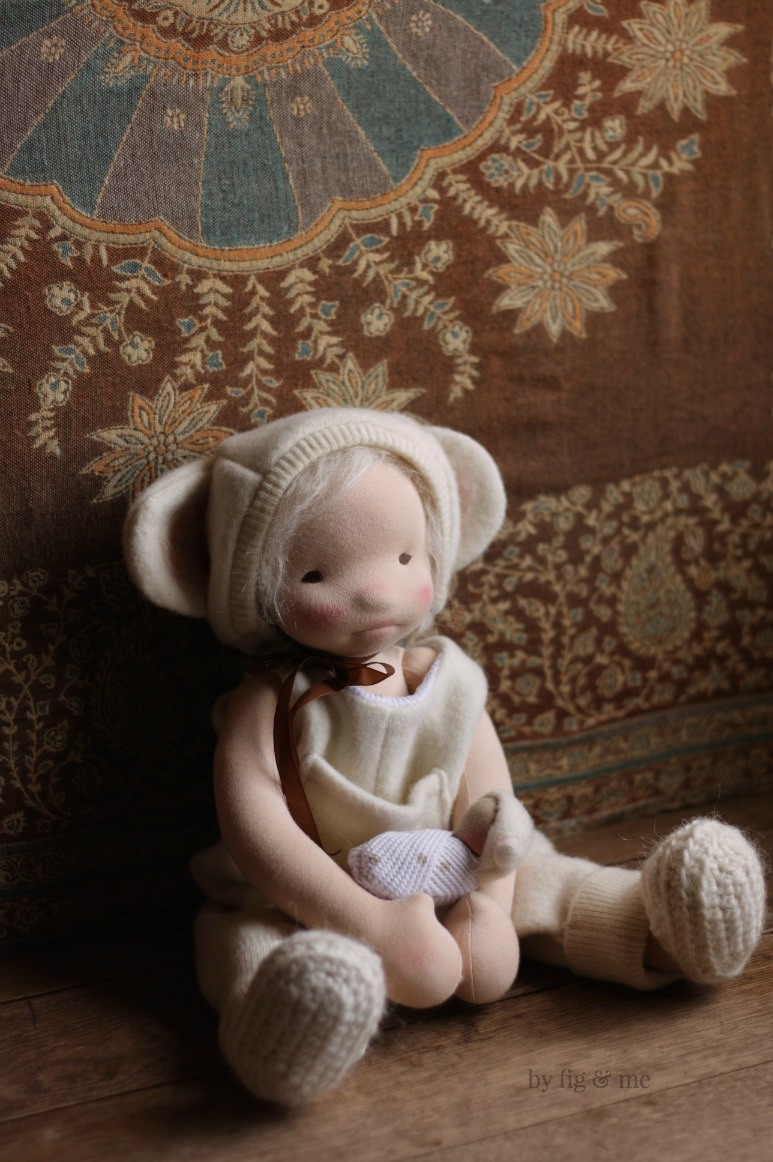 Little Raisa, an all-natural cloth art doll by Fig and Me.