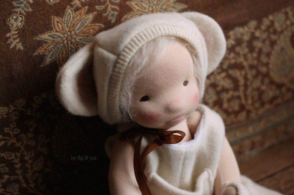 Raisa, a natural cloth art doll by Fig and Me.