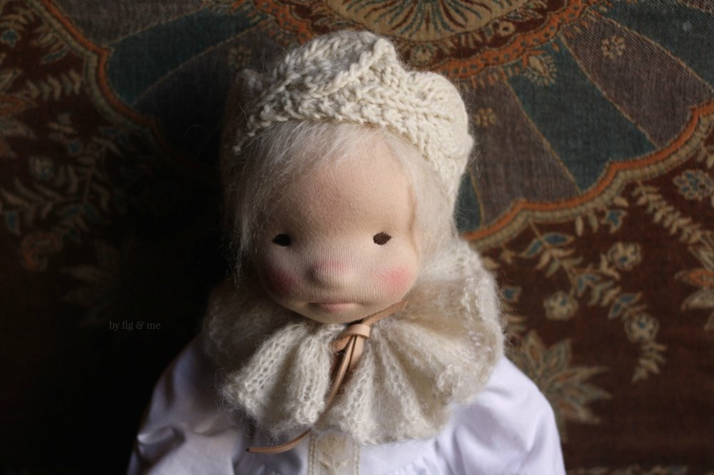 Little Raisa, a natural cloth art doll by Fig and Me.