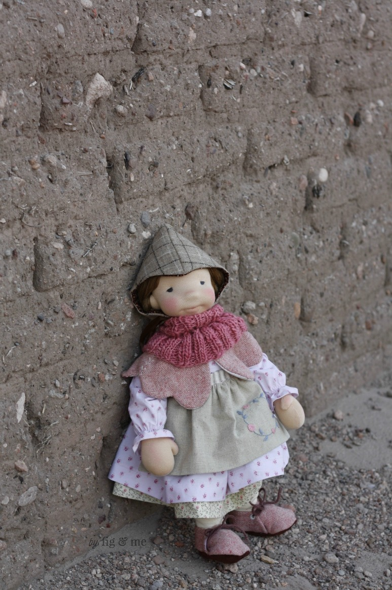 Robin, a custom natural fiber art doll by Fig and Me.