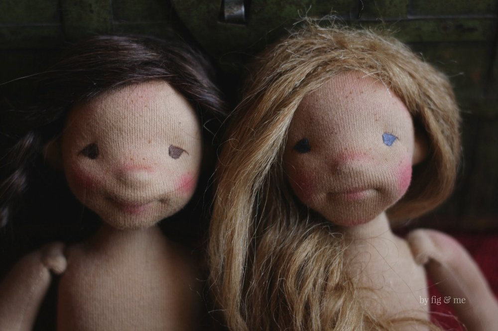 Eileen and Ethel, the little ones. Natural Cloth Art Dolls by Fig and Me.