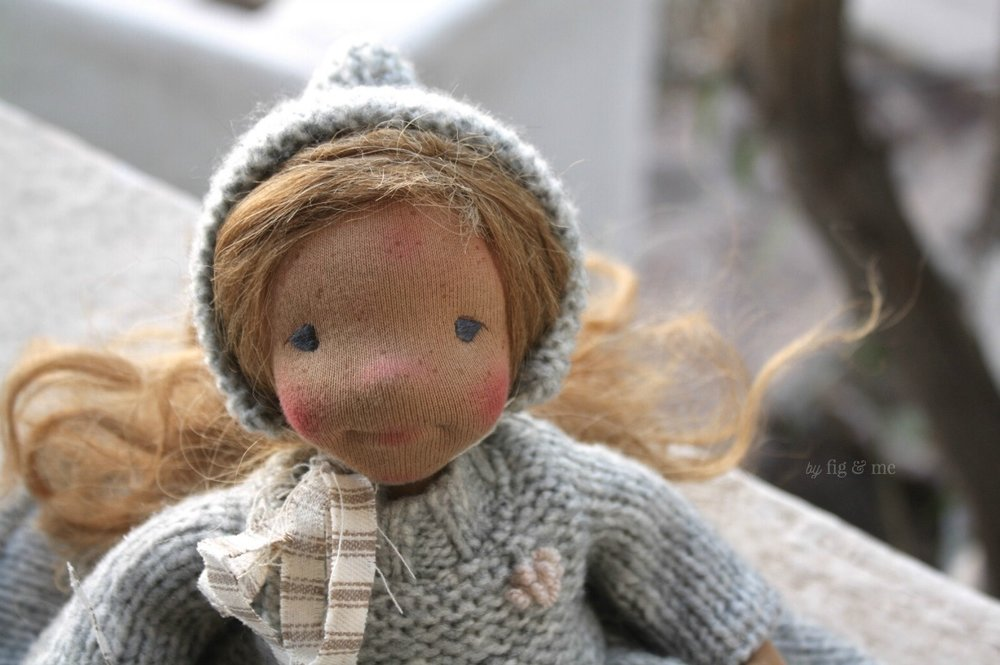 Ethel, a natural cloth doll, waldorf inspired, by Fig and Me.