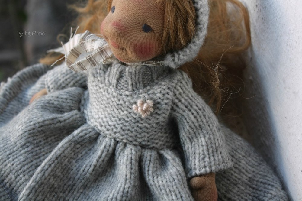 Pretty wool flower on Ethel's dress, by Fig and Me.