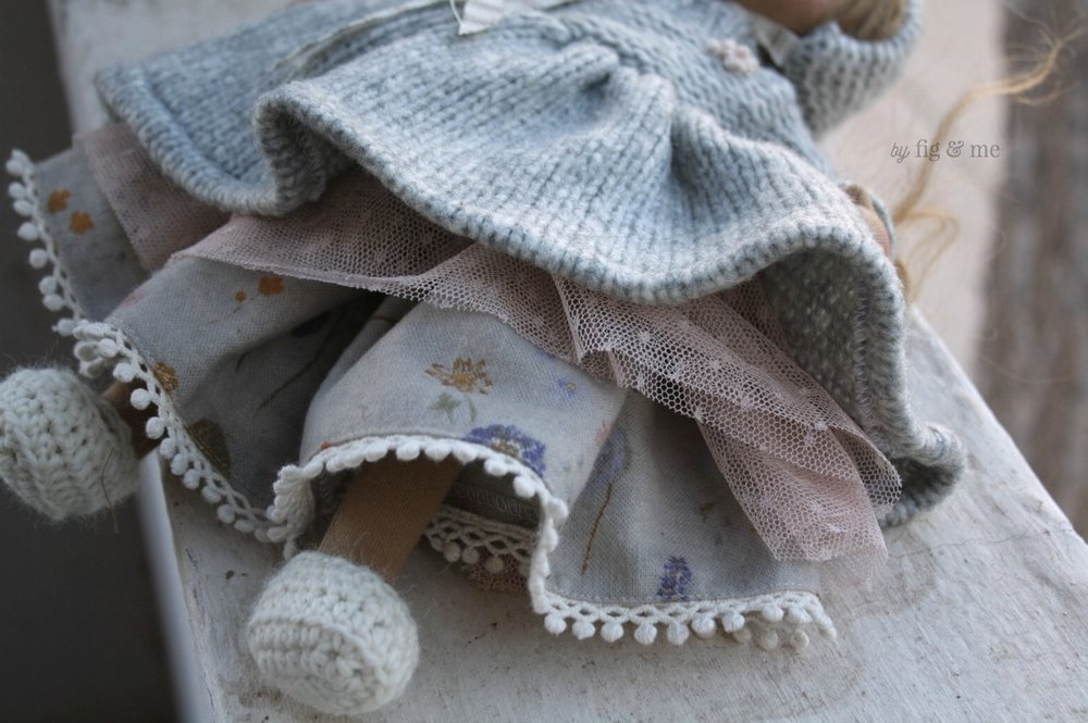 Cotton lace, fancy design tulle, cotton flannel and wool knits. Pretty doll clothing  by Fig and Me.