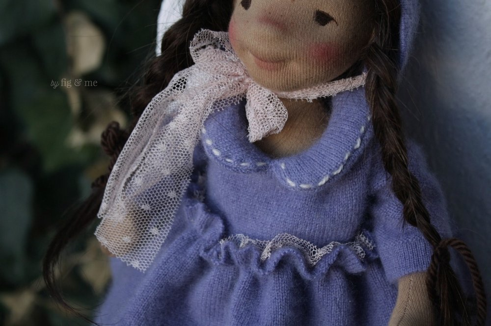 Tiny stitches on her Peter Pan collar (handmade doll clothes) by Fig and Me.
