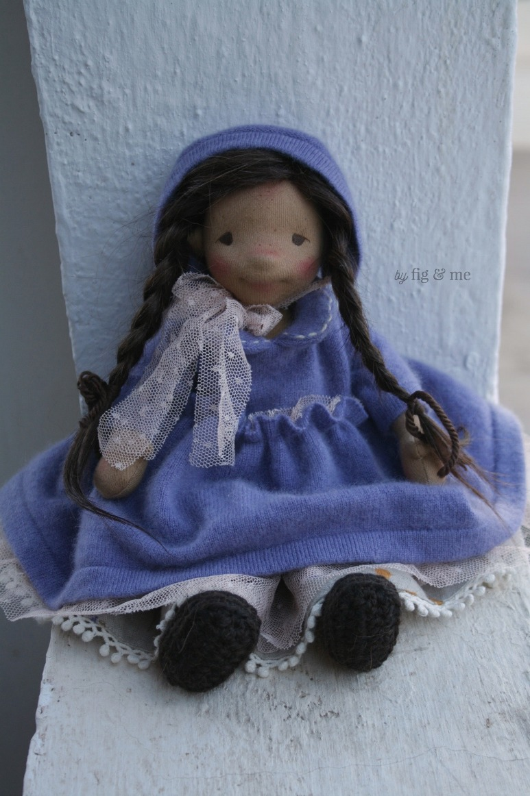 Eileen, wearing her long and pretty cashmere dress, by Fig and Me.