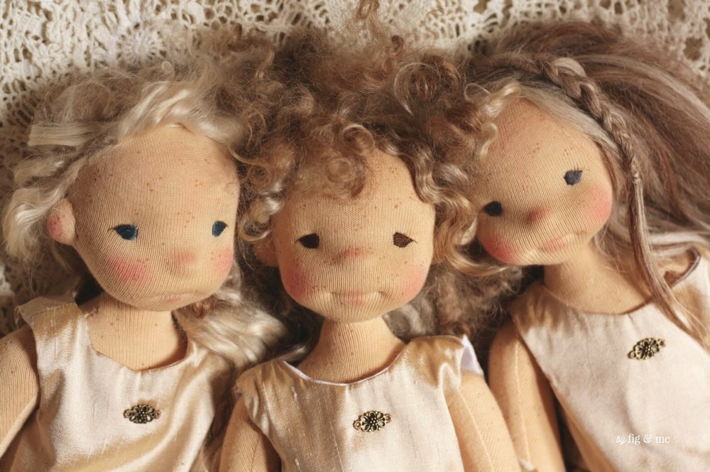Anwen, Morwen and Bronwen. Three natural fiber art dolls by Fig and Me.