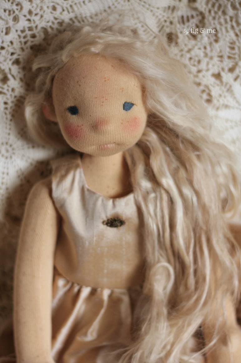 Anwen is the middle child. A natural cloth art doll by Fig and Me.