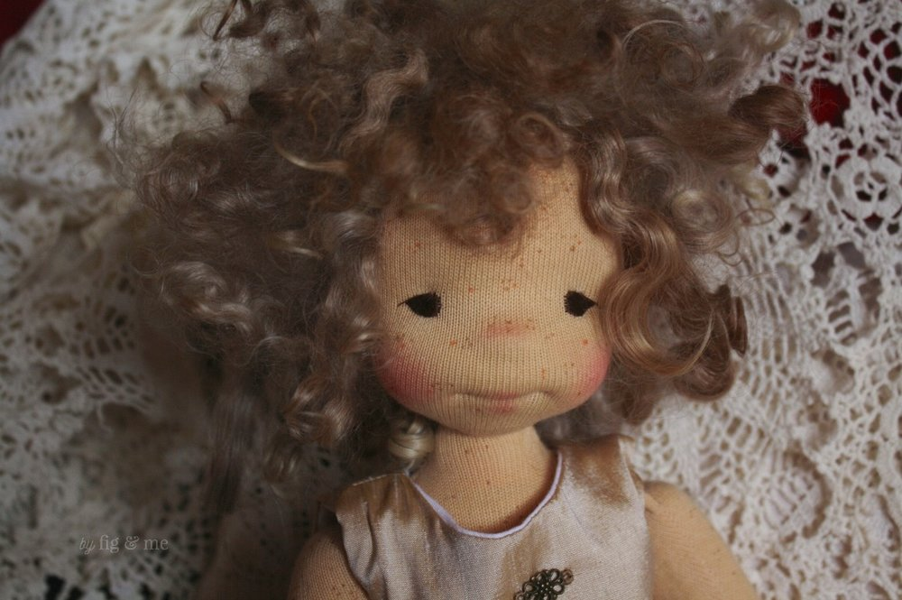 Morwen is the littlest sister, a natural cloth art doll by Fig and Me.