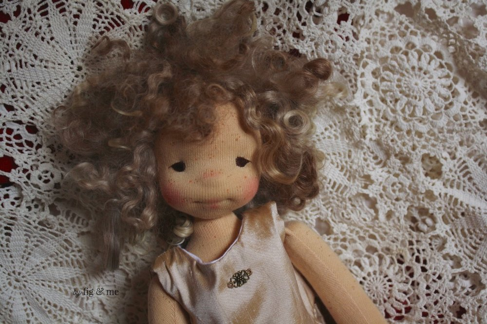 "Morwen being so silly, as usual. She said ""I strike a pose!"". Natural cloth art doll by Fig and Me."