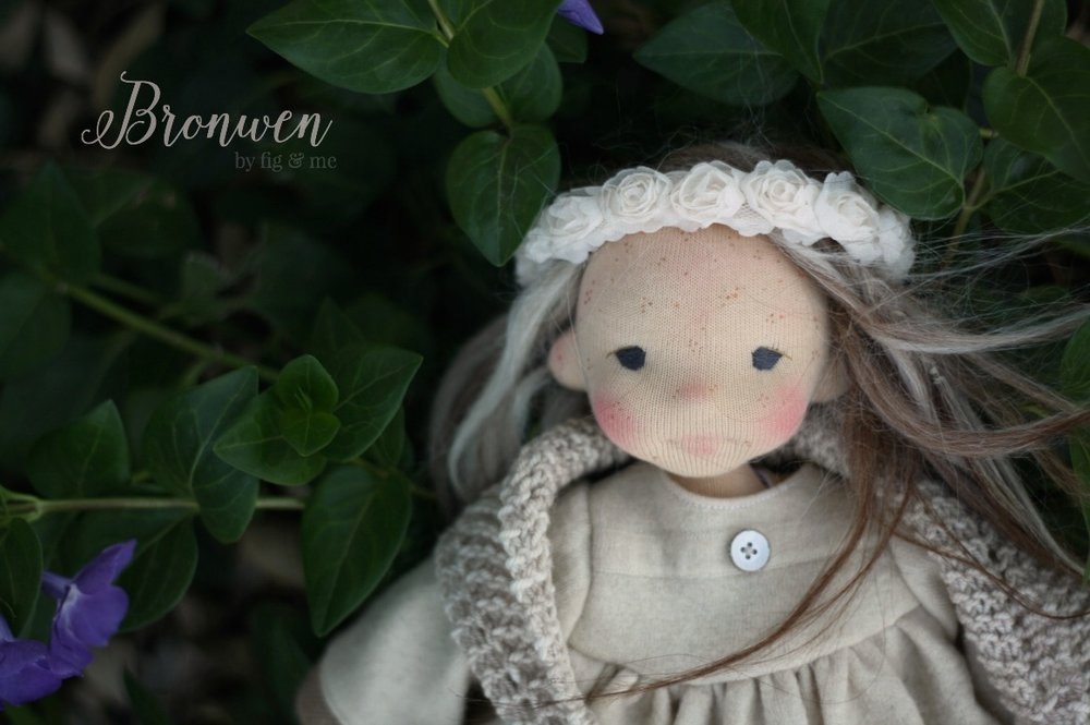Bronwen, a natural fiber art doll by Fig and Me.