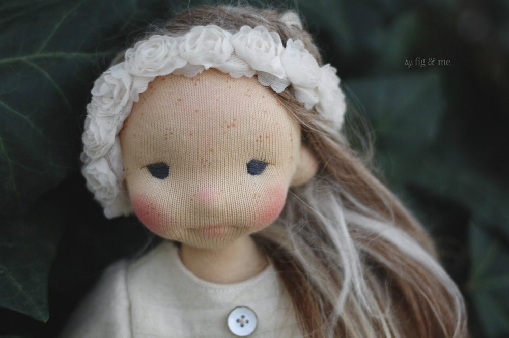 Sweet Bronwen, a natural fiber art doll by Fig and Me.