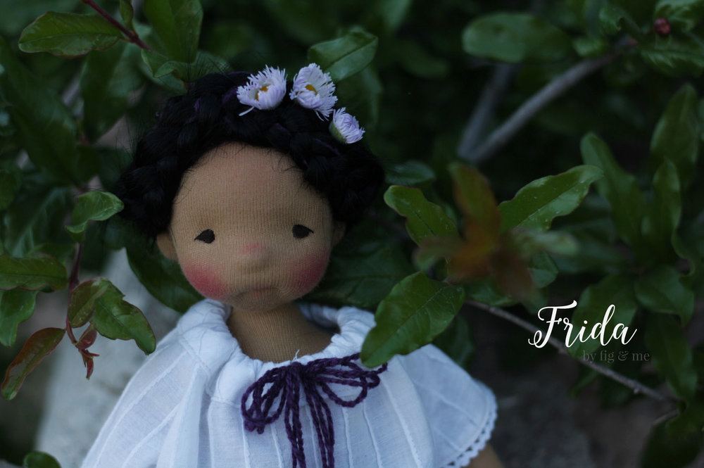 My Little Frida, a custom natural cloth doll by Fig and Me.