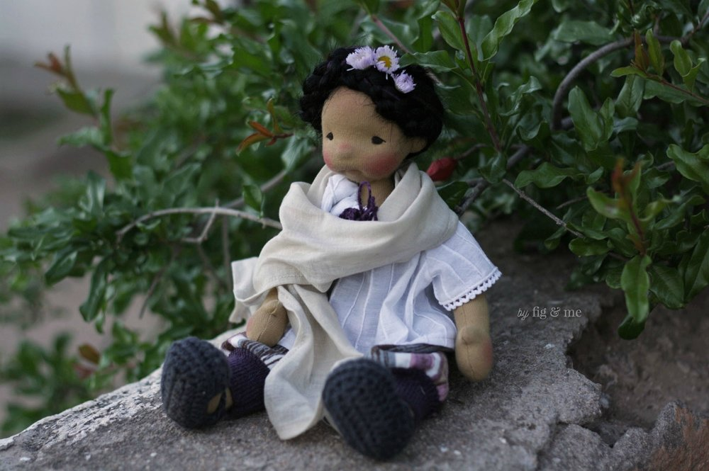 Little Frida, a custom natural fiber art doll by Fig and me.