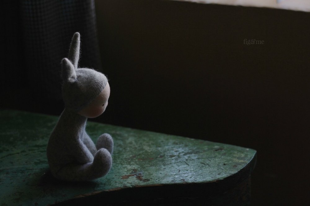 A pensive little bunny. Wee Babies are made with repurposed cashmere and stuffed gently with wool. You can find the pattern on my shop. Made by Fig and Me.