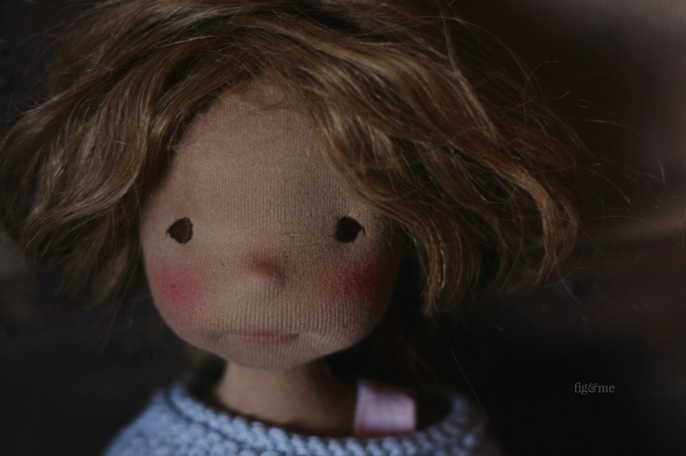 Renata, a natural fiber art doll by Fig and Me.