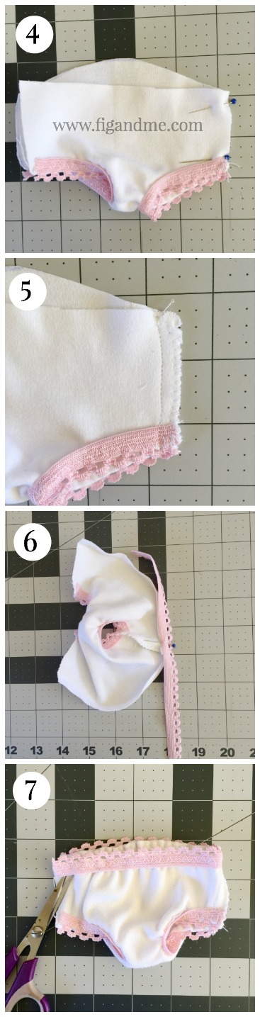 How to sew doll underwear, by Fig and me.