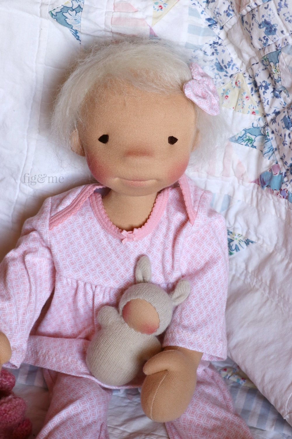 Miss Romy playing with her toys, a custom natural fiber art doll by fig and me.