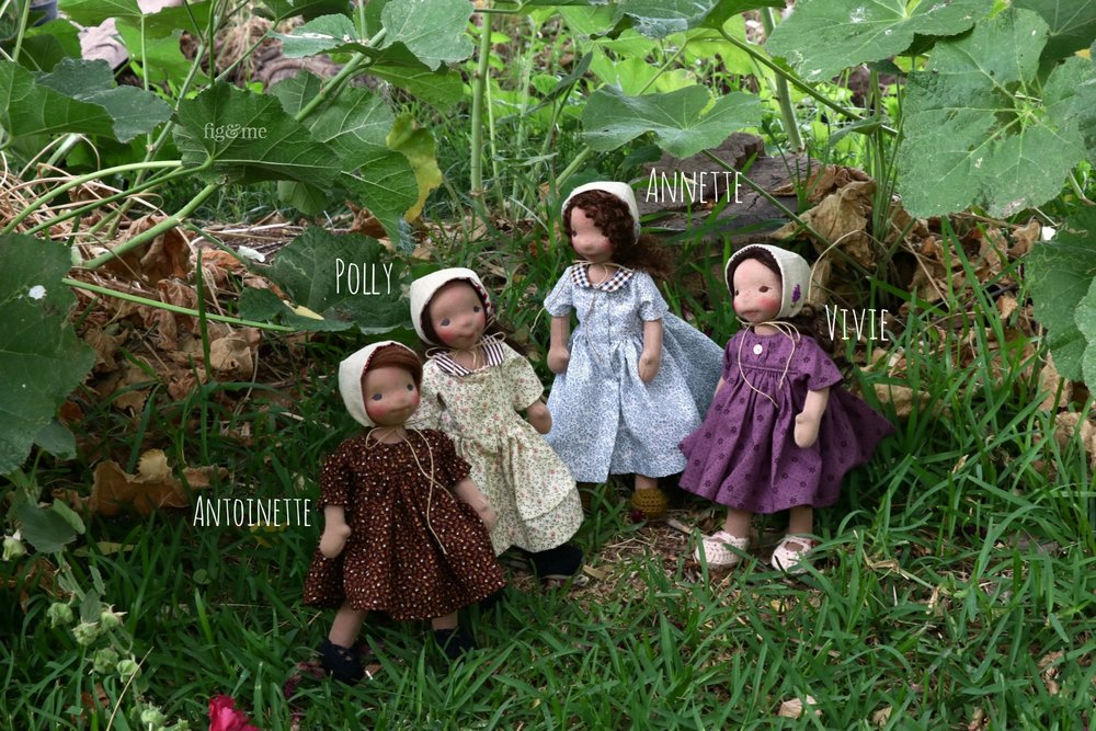 My four little garden girls, natural cloth dolls by Fig and Me.