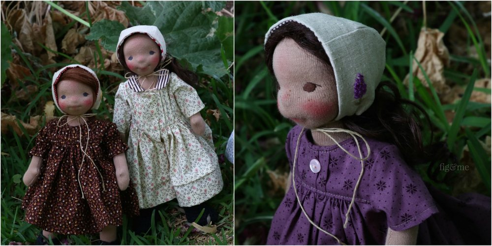 The garden girls, natural cloth art dolls by Fig and Me.
