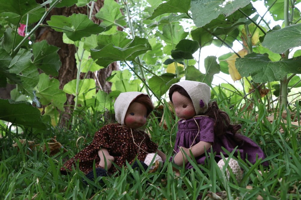 The girls playing in the garden, by Fig and Me.
