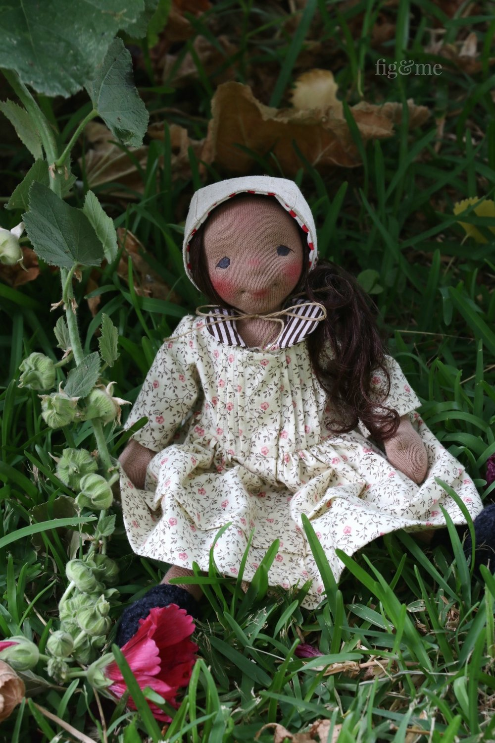 Polly, a  natural cloth art doll by Fig and Me.