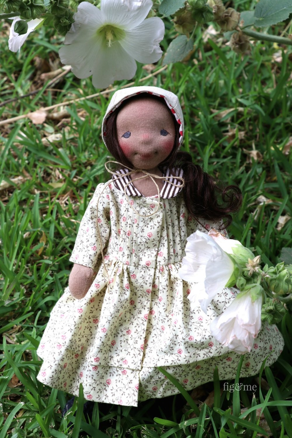 Polly, a natural fiber art doll by Fig and me.