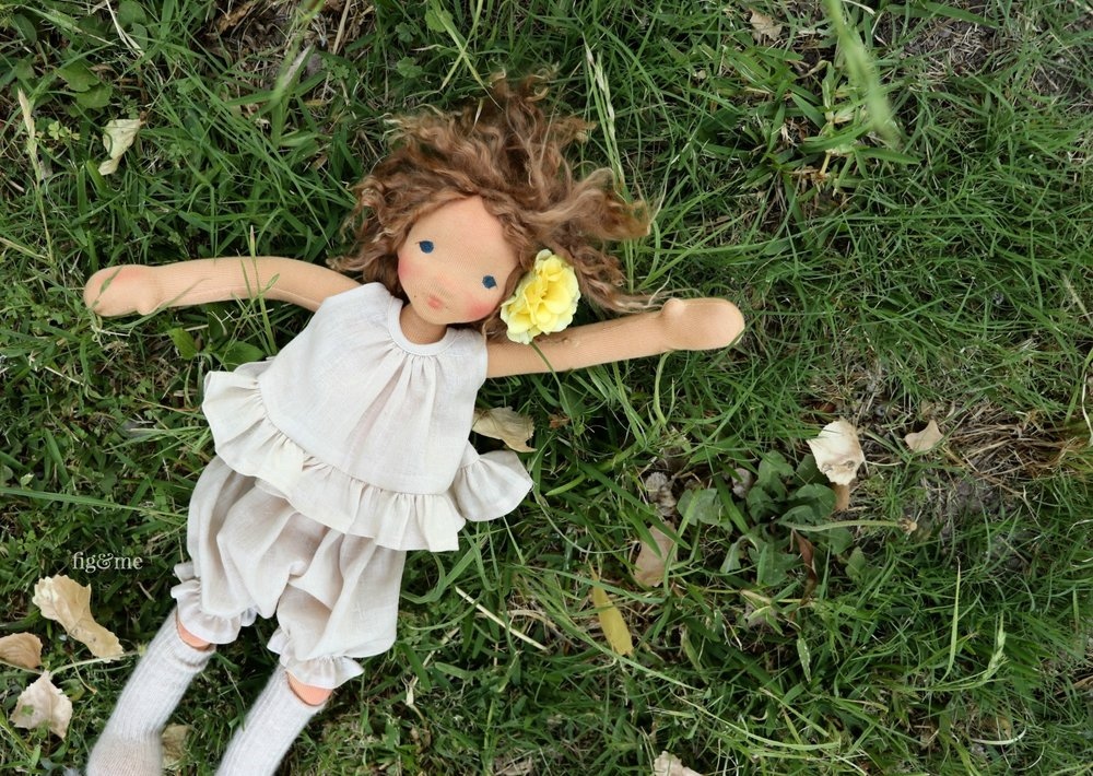 Anne, a contemporary all-natural art doll, by Fig and Me.