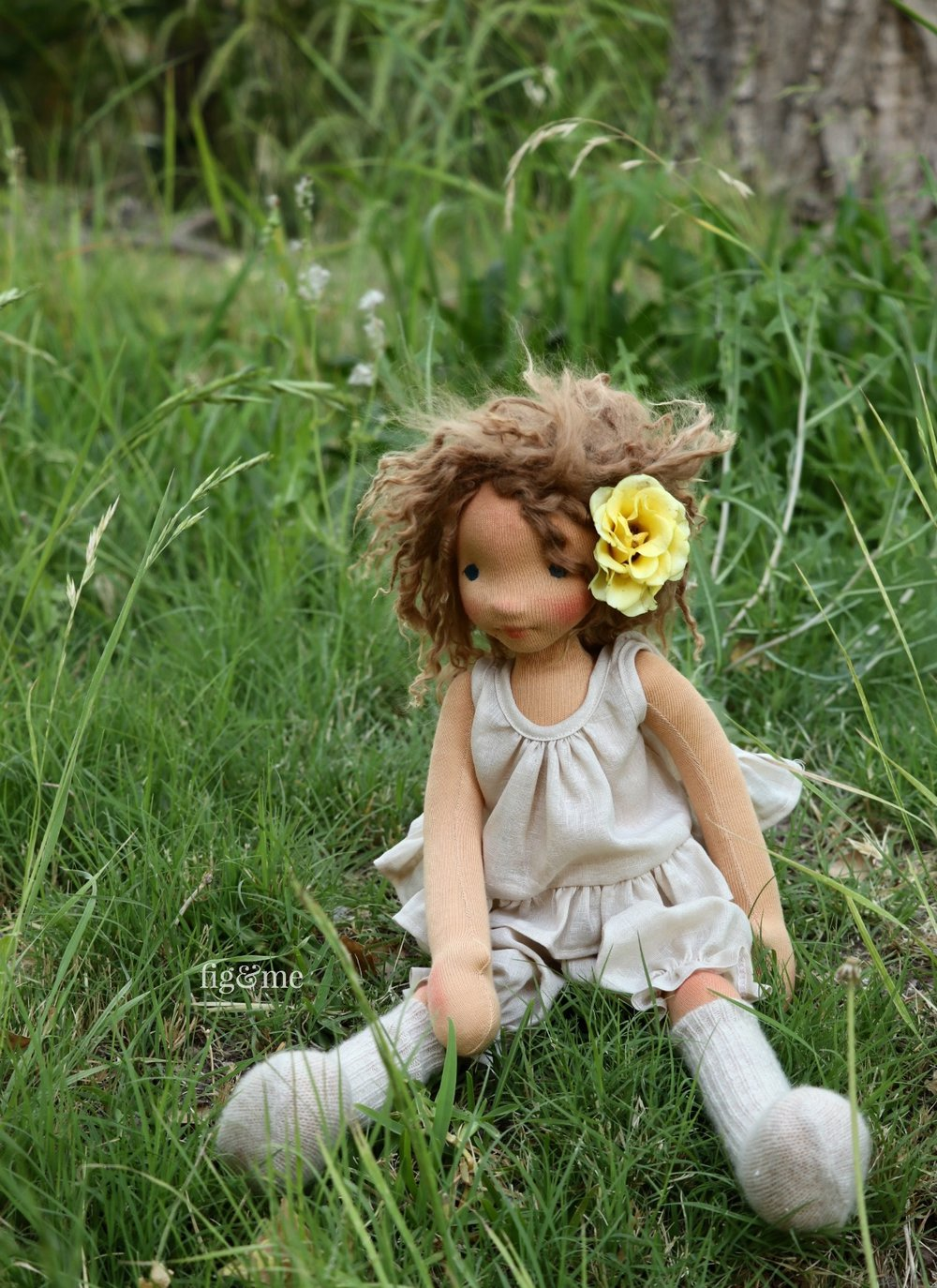 Anne, a contemporary all-natural art doll by Fig and Me.