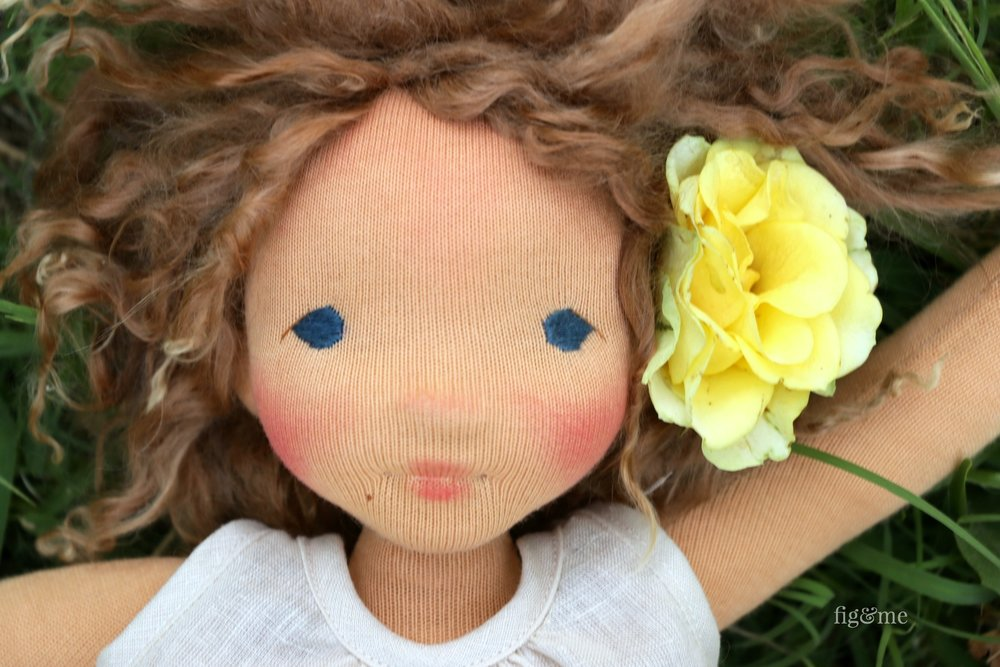 Anne, a contemporary fiber art doll by Fig and Me.