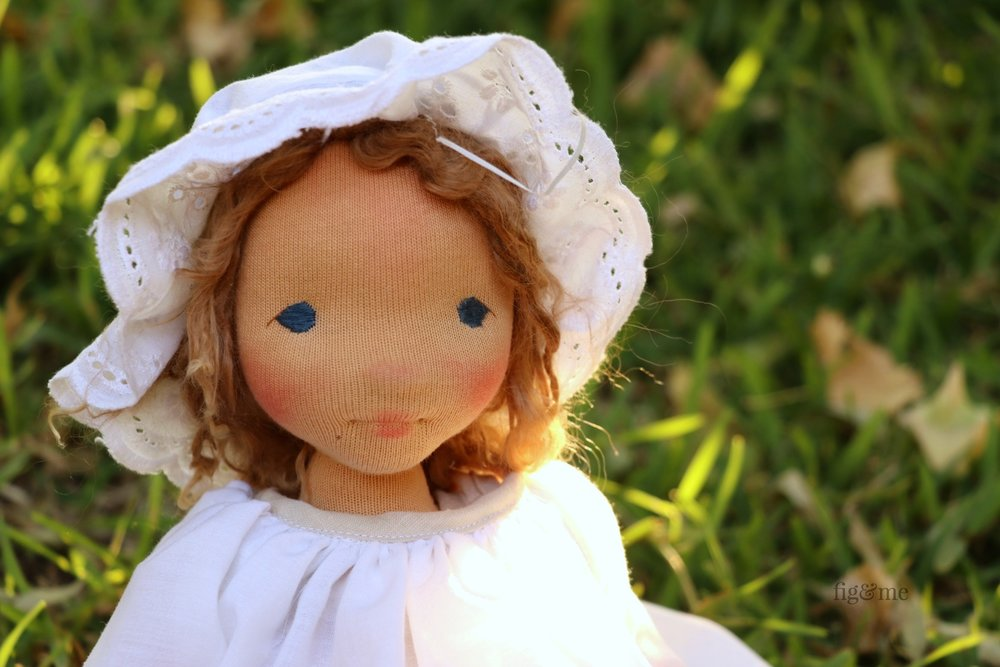 Anne in the garden. A contemporary art doll by Fig and Me.