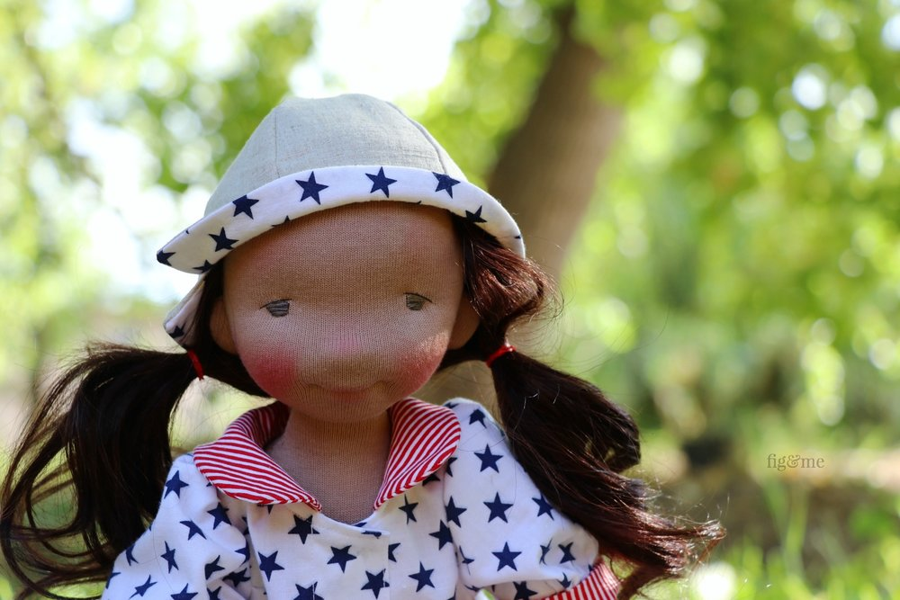 Eileen is a fiber art doll, made with all natural materials, by Fig and Me.