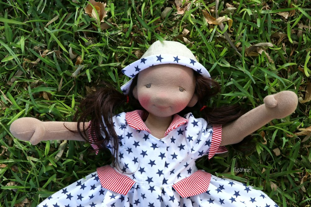 "Little Eileen, a custom 17"" figlette by Fig and Me."