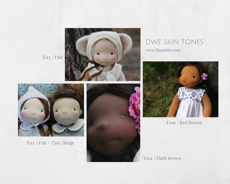 A comparison on doll skin fabrics, and how they look on ready-made dolls (via Fig and Me blog).