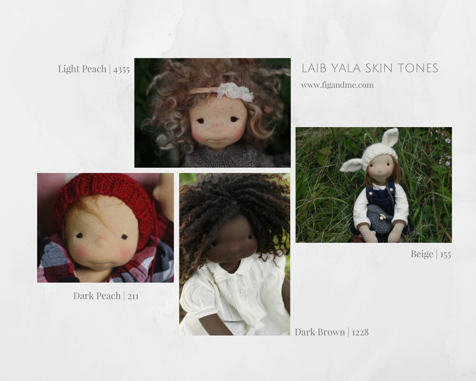 A simple, yet thorough guide, to waldorf doll skin fabrics, and how they look once stuffed  |  via Fig and Me blog.