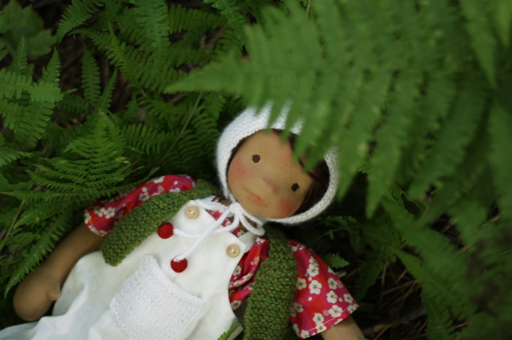Cedar, a cloth doll, natural fiber art by Fig and Me.