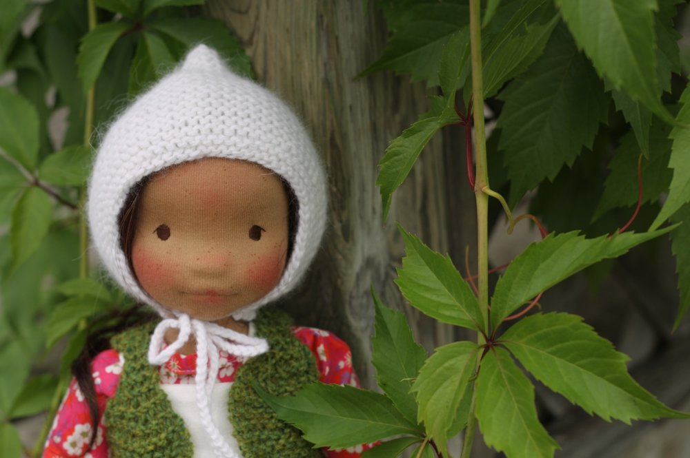 "Cedar is a cloth art doll, 18"" tall, made in the Petite Fig style by Fig and Me."